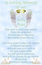 In Loving memory Angel, Baby Child Loss Graveside Memorial Waterproof card c13