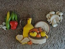 Homco wall plaque garden veg cottage style multi- color wall decor vtg