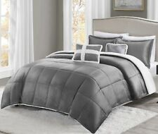 New True North Mink to Sherpa Comforter - 5 Pc Set - Full Queen Size in Gray