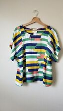 Maeve Top Blouse Blue And Yellow Stripped Size Small
