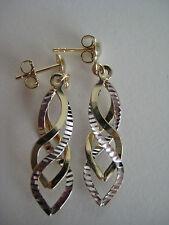 Oro Pendientes Colgantes 9 Quilates Oro Amarillo & Blanco 3d