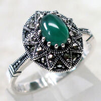 FABULOUS MARCASITE 1.5 CT GREEN AGATE 925 STERLING SILVER RING SIZE 5-10