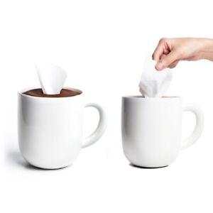 Round Tissue Holder Dispenser Storage Organizer Qualy Maximug Coffee Mug Shape