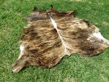 LARGE BRINDLE BROWN Cowhide Rug natural hair Cowhides Cow Hide Skin 6X6 FEET RC