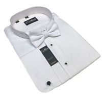 ' WHITE TIE' 100% COTTON WING COLLAR MARCELLA SHIRT BOW TIE SIZES 18 19 21 22 ""