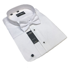"""' WHITE TIE' 100% COTTON WING COLLAR MARCELLA SHIRT BOW TIE SIZES 18 19 21 22 """""""