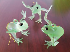 Happy Jumping Frog Christmas tree ornament holiday Glass Pine Tree Set of 3