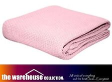 KOMMOTION SOFT PINK 100% COTTON KIDS COT BABY CRIB BLANKET PEBBLE WEAVE 114X152
