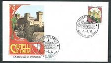 1987 ITALIA FDC FILAGRANO CASTELLI 380 LIRE NO TIMBRO ARRIVO - EDG40