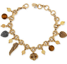 Lucky Brand Two Tone Owl And Wing Charm Bracelet NEW