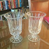 """Vintage Hurricane Candle Holder Lead Crystal Heavy Pair 6 1/2"""" Tall"""