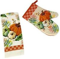 Way to Celebrate Harvest Pumpkins Set of 2 Kitchen Towel + Oven Mitt NEW