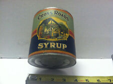 ANTIQUE CROSS ROADS SYRUP TIN  2 lbs 5oz CAIRO GA CAN LOG CABIN COUNTRY STORE