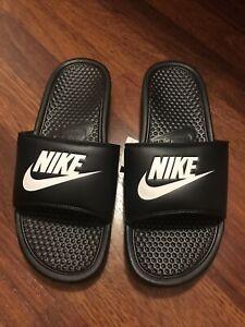 Nike Benassi JDI Men's Slip On Slides Sandals Size 10 Solid Black Logo New NIB