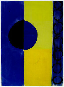 Blue and Yellow Terry Frost abstract print in 11 x 14 mount SUPERB