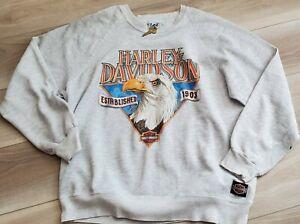 Vtg Harley Davidson Crewneck Sweatshirt Eagle 2 Side Graphics XL 1991 Large