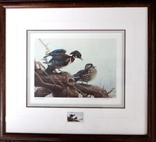 Michael Dumas Original Hand Signed Numbered Limited Wood Ducks Stamp '90 Framed