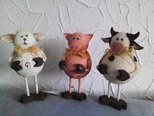 Bauernhof Tier Schaf, Schwein und Kuh mit Holzhände und Füße 3 Stück sor. Nr 239