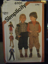 Simplicity 6101 Kid's Pants or Knickers, Shirt & Lined Vest Pattern - Size 6