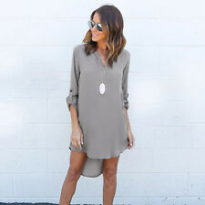 Womens Summer Long Sleeve T-shirt Loose Casual Long Tops Blouse Mini Shirt Dress