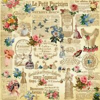 French Victorian Collage 8x8 Craft or Quilting Fabric Block -Buy 2, Get 1 FREE!