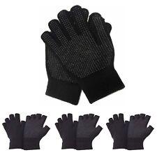 Mens Ladies Girls Boys Black Half Full Finger Gripper Thermal Gloves Driving UK