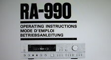Sansui RA-990 reverb amp operating instructions inc conn diag imprimé anglais