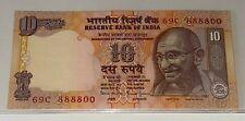 INDIA Rs 10 RUPEES Fancy Serial Number 69C-888800 UNC BANKNOTE MAHATMA GANDHI
