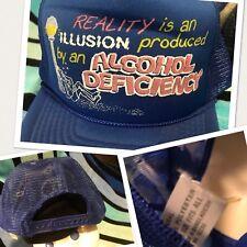 NOS Vtg Novelty REALITY ILLUSION ALCHOHOL DEFICIENCY Trucker Mesh Snapback Hat