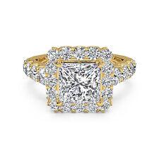Princess 1.75Ct Diamond Engagement Rings Fine 14K Yellow Gold VVS1/D Size M,N,O