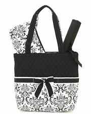 Belvah quilted monogrammable damask pattern 3pc diaper bag black QND-BK 1000