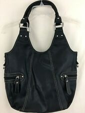 Faux Leather Hobo Handbag Black
