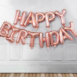 Birthda Birthday Balloon Decoration Rose Happy Birthday Foil Balloons Party Kids