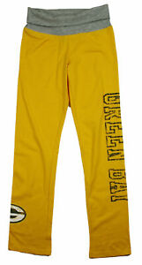 NFL Youth Girls Green Bay Packers VINTAGE Graphics Yoga Roll Pants, Yellow