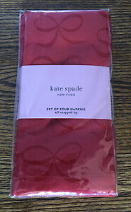 New! Kate Spade ALL WRAPPED UP Set of 4 Napkins Red Valentines