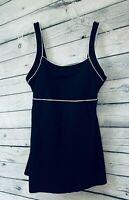 Speedo Endurance Womens Swim Dress Size 12 One Piece Swimsuit Modest Black/White