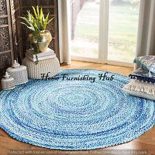 Braided Handmade Round-6 Ft Indian Reversible Floor Multi Cotton Carpet Rag Rug