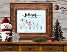 Personalised Family of Penguins Christmas Sign - Add your own Family Name