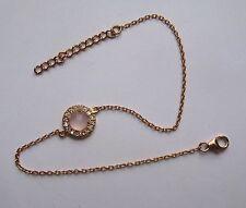 Mujer 19.1cm-21.6cm chapado en Oro Rosa Plata Ley CZ Cuarzo Rosa Pulsera
