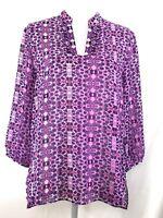 COLDWATER CREEK blouse MEDIUM purple pink geo floral 3/4 sleeves sheer (H843)