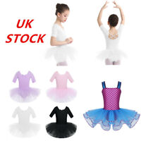 UK Girls Ballet Dance Dress Kids Gymnastics Mermaid Tutu Skirt Dancewear Costume