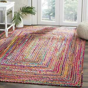 Rug Runner Jute & Cotton 2X6 Feet Braided style Rug Reversible Rustic look Rugs
