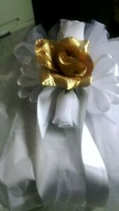 White And Gold Wedding Pew Bows Set Of 10 with white ribbon rush available