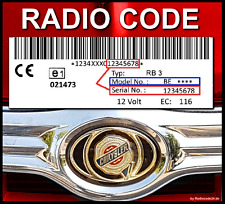 █►RADIO CODE RB3 Chrysler Voyager PT Cruiser BE6802  UNLOCK KEY