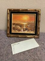 Vintage Framed Signed Seascape Oil On Canvas-COA-Letend