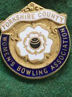 Vintage Enamel Bowls Club Badge Pin Yorkshire Women's County Bowling Association