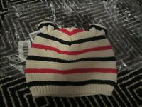 NWT BABY GAP 6 12 Knit Bear Hat Ivory Black Red Stripes