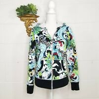 One World Hoodie Jacket Zip Front Size Medium Abstract Print Cotton