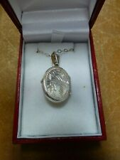 """Vintage 925 engraved locket double sided necklace pendant Silver 16"""" Chain"""