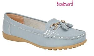 Ladies Loafers Leather Comfy Flat Shoes  Baby Blue Slip-On Tassle Size 3 to 8 UK